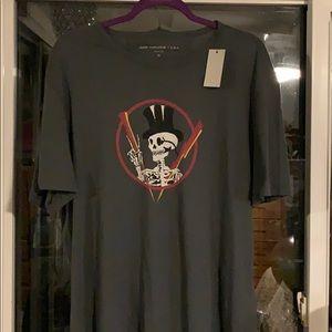 John Varvatos Top Hat Skeleton Peace Sign T-Shirt
